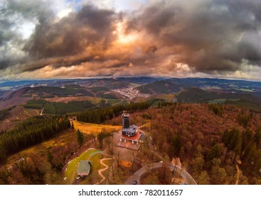 Aerial picture of the viewpoint Hohe Bracht in the region Sauerland in Germany