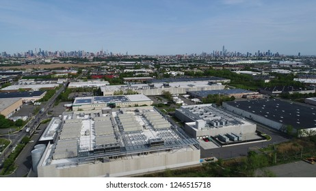 Aerial picture. Warehouse area near New York city. Huge malls.