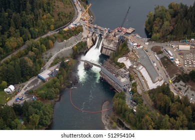 Aerial picture of a water hydro station in Canada.