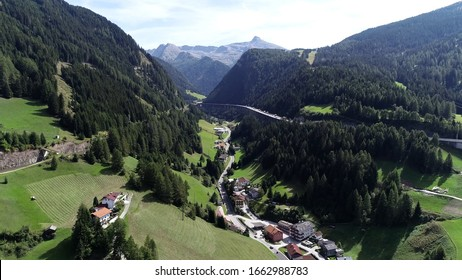 Aerial pictureof Brenner Pass in German language Brennerpass is mountain road through Alps which forms border between Italy and Austria it is one of the principal passes of the Eastern Alpine range 4k