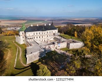 Aerial: Pidhirtsi Castle, located in the village of Pidhirtsi in Lviv Oblast, Ukraine