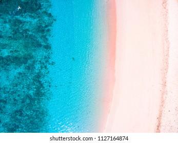 Aerial Pink Beach Summer Vacation