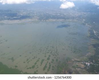 aerial plane airplane window view celebes limboto gorontalo sulawesi