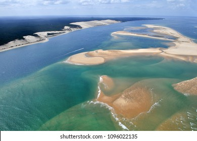aerial plane view of bassin Arcachon near bordeaux in France with dune du pyla.