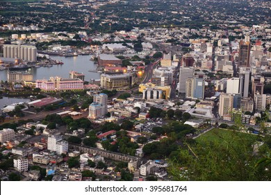 Aerial Port Louis Mauritius nearing sunset