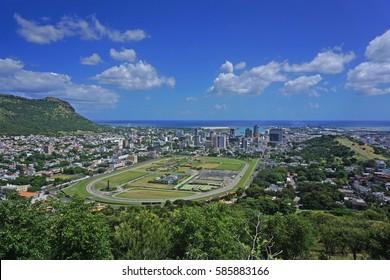 Aerial Port Louis Mauritius skyline