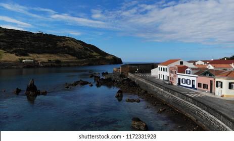 Aerial Porto Pim Bay and beach on Faial island, Azores, Portugal