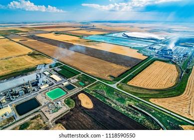 Aerial of potash mine, Belle Plaine, Saskatchewan, Canada