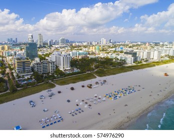 Aerial pov Miami Beach