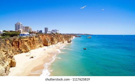 Aerial from Praia da Rocha in the Algarve Portugal