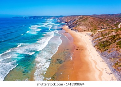 Aerial from Praia Vale Figueiras at the westcoast in Portugal