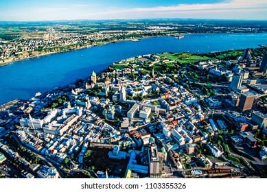 Aerial of Quebec City, Quebec, Canada