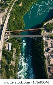 Aerial of railway bridges over Niagara River