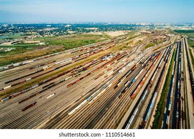 Aerial of railyard, Winnipeg, Manitoba
