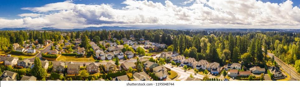 Aerial real estate photography drone Seattle Washington neighborhood