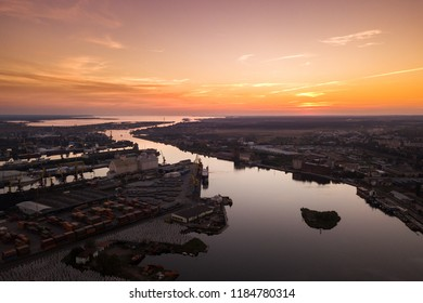 Aerial: Red sunset over the port of Kaliningrad, Russia
