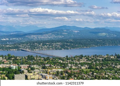 Aerial and remote view of Seattle (Leschi) with the Lacey V Murrow Bridge over Lake Washington and the Mercer Island and Bellevue, Washington state, USA.