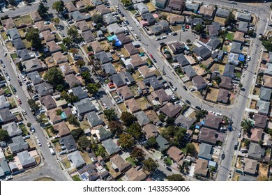 Aerial of residential streets and homes near San Leandro and Oakland, California.