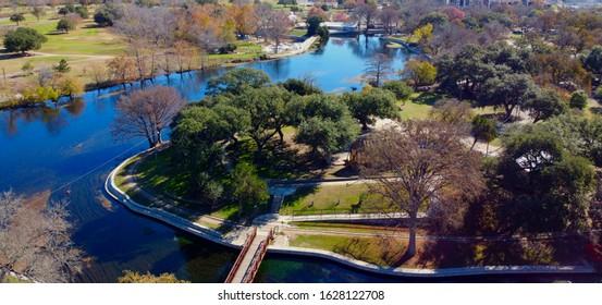 Aerial River of Comal River at Landa Park