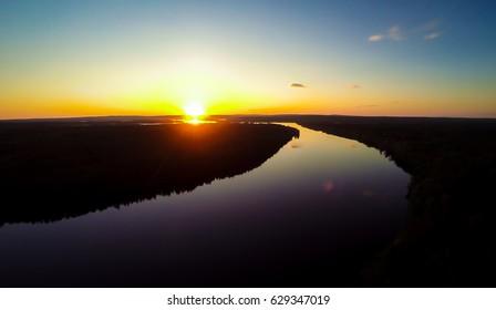 Aerial river landscape