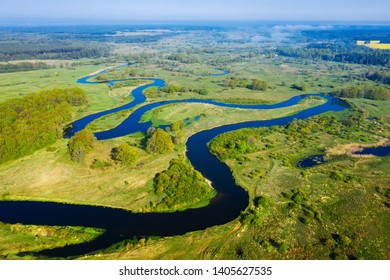 Aerial river landscape. Scenery river from above. Summer nature background.