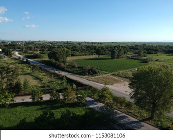 aerial road and nature scene