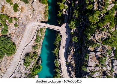 Aerial The Roman bridge at Koprulu Canyon, Antalya, Turkey