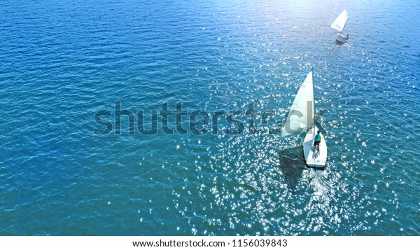 Aerial. Sailing sport background. Yachting in a calm.