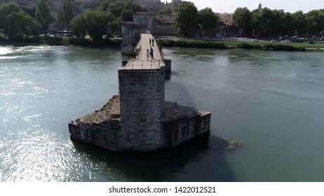 Aerial of Saint Bénézet also known as the Pont d'Avignon is a famous medieval bridge over the Rhone in the town of Avignon in southern France and a popular tourist attraction