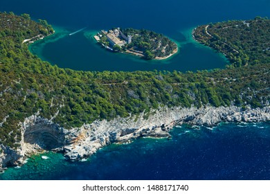 Aerial Salt lakes and Benedictine monastery on Mljet island, Adriatic Sea, Croatia