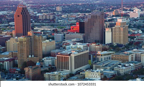 An aerial of San Antonio, Texas city center at twilight