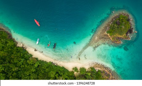 Aerial of San Chao Beach at Koh Rang in Koh Chang National Park, Trat, Thaialnd: Popular places that tourists like to dive, watch fish and underwater coral.