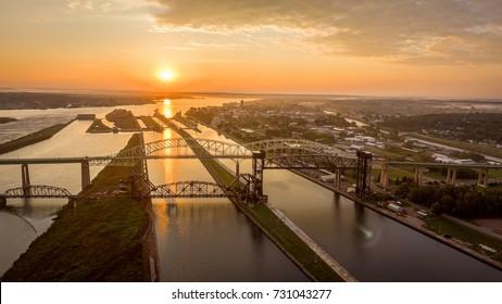 Aerial Sault Ste Marie International Sunset