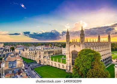 Aerial scenery of Cambridge city in England during sunset
