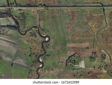 Aerial scenery of Nida river in Poland. Very large area visible.