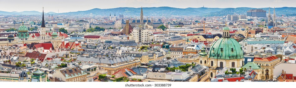 Aerial scenic panoramic view of city center of Vienna seen from St. Stephen's Cathedral in Austria