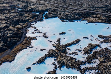 Aerial scenic view of Blue lagoon among lava fields in Iceland