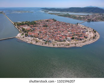 Aerial scenic view of the famous island - town of Aitoliko in Aetolia - Akarnania, Greece is situated in the middle of Messolonghi Lagoon and it is known as the Little Venice of Greece.