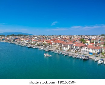 Aerial scenic view of the famous Preveza city port and boats in spring time. Preveza is a beautiful town in the region of Epirus, northwestern Greece, located at the mouth of the Ambracian Gulf.