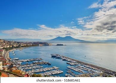 Aerial scenic view of Naples with Vesuvius volcano at sunrise. Campania 66717f16b3393