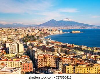 Aerial scenic view of Naples with Vesuvius volcano