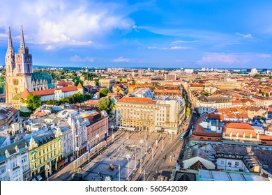 Aerial scenic view on Zagreb city center, capital town of Croatia, european travel places. / Selective focus.