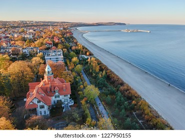 Aerial sea line landscape of Sopot