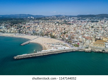 Aerial sea view of Sitges, a famous touristic city in Barcelona, Catalonia, Spain