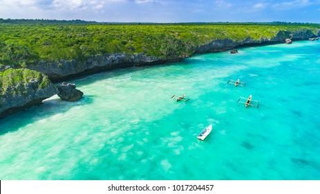 Aerial. Seascape, Zanzibar, Tanzania.