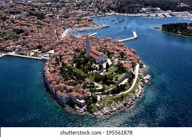 Aerial shoot of Old town Rovinj, Istra region, Croatia.