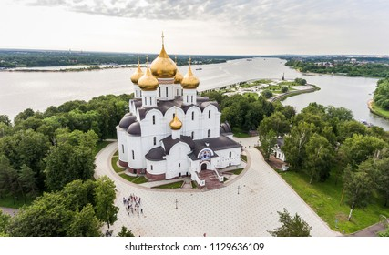 Aerial shooting of the Assumption Cathedral in Yaroslavl. View from the top of the temple and the park Strelka