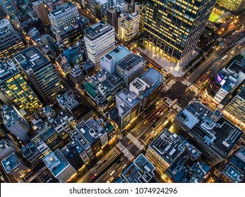 Aerial shooting of the business area of dusk.