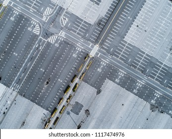 Aerial shooting of a large parking lot. Linear design.