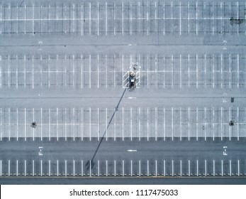 Aerial shooting of a large parking lot. Organized scene.